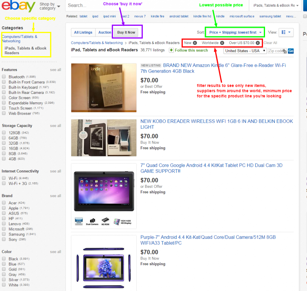 filter ebay results to find dropshipping suppliers