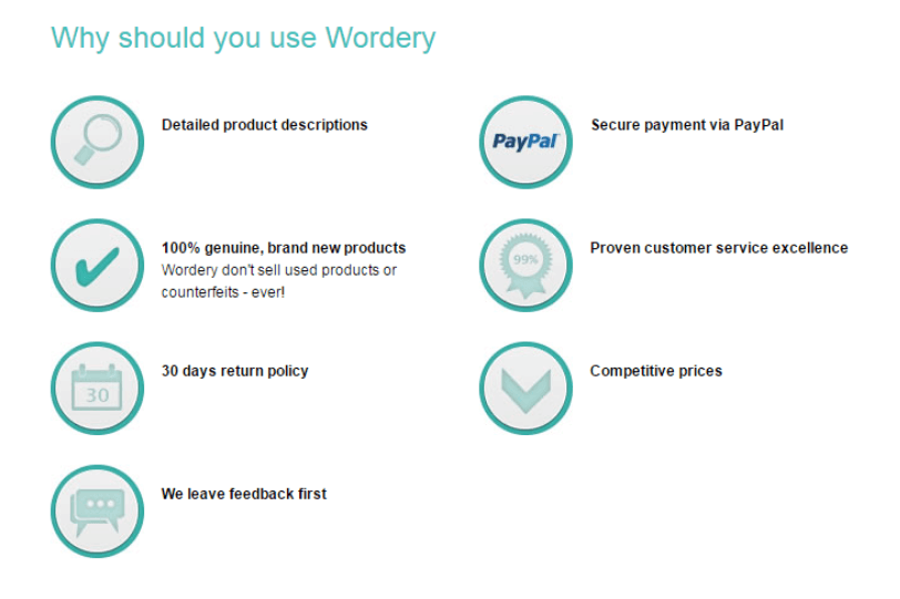 wordery lists the reasons why you should choose them as trust indicators