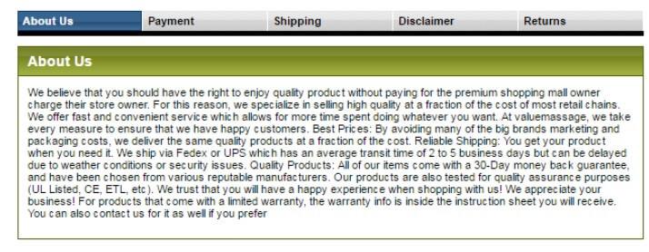 eBay Description Template - tabs