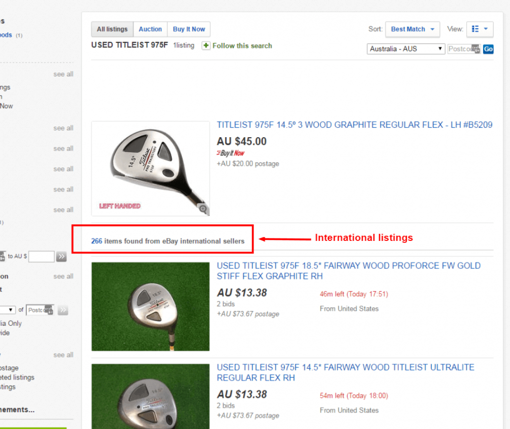 example of ebay search results in ebay australia for international results
