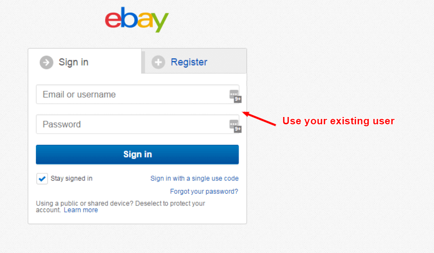 use your existing eBay username and password to login to local eBay sites