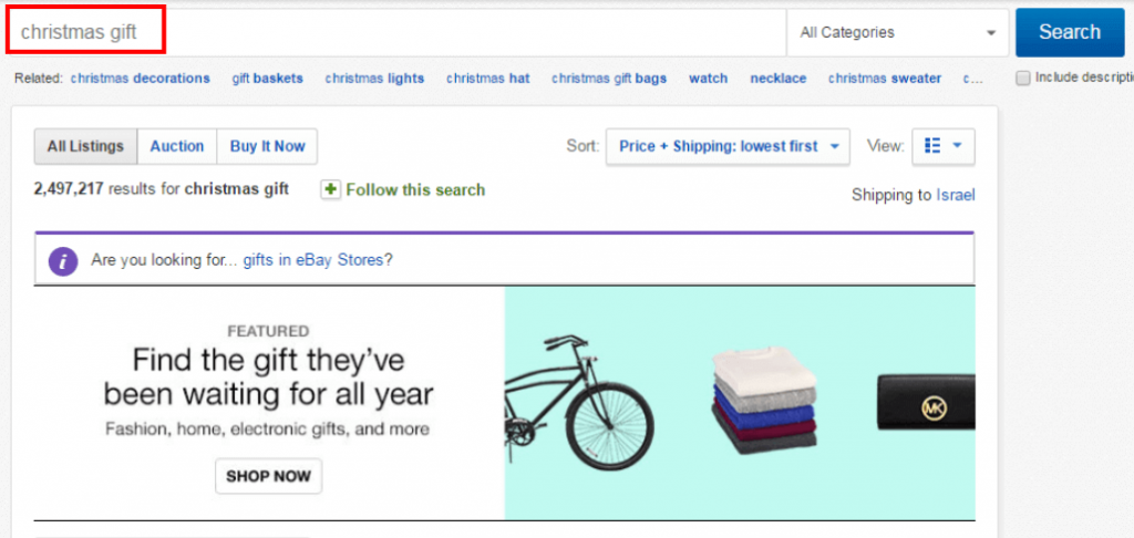 ebay search results during ebay holiday sales