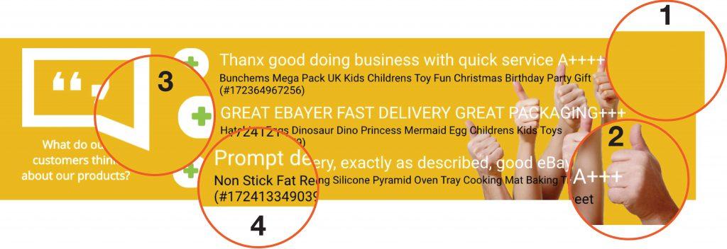 Building eBay feedback in listings