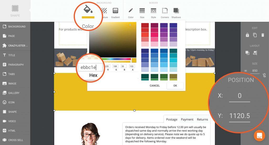 CrazyLister - select color for ebay feedback banner