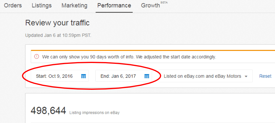 ebay seller hub panel where you will find your ebay conversion rate