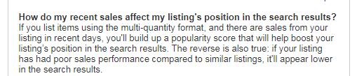 eBay Best Match - FAQs recent sales