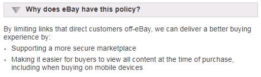 eBay links policy