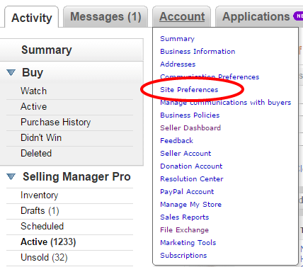 ebay site preferences