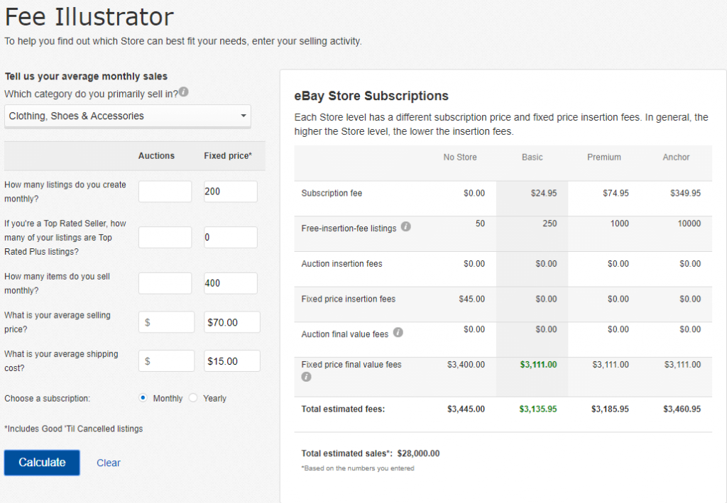 ebay store fee calculator