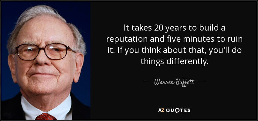 Warren buffet thoughts about reputation