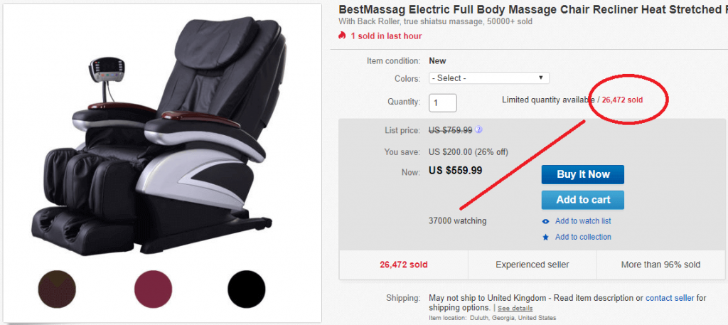 ebay description template chair listing with 26000 sales