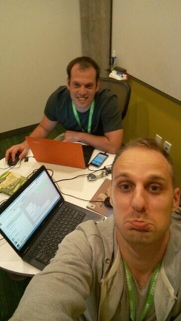 Victor and Amir working between meetings, San Francisco