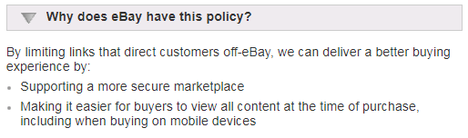 eBay links policy update reasons