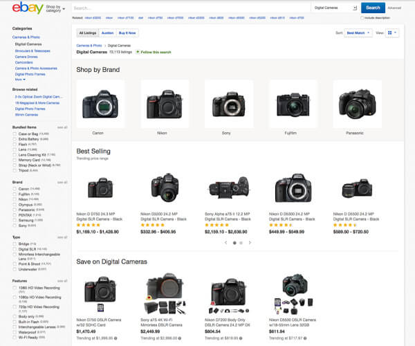ebay new search results view