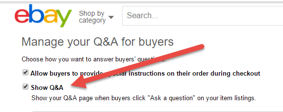 show questions and answers on ebay listings