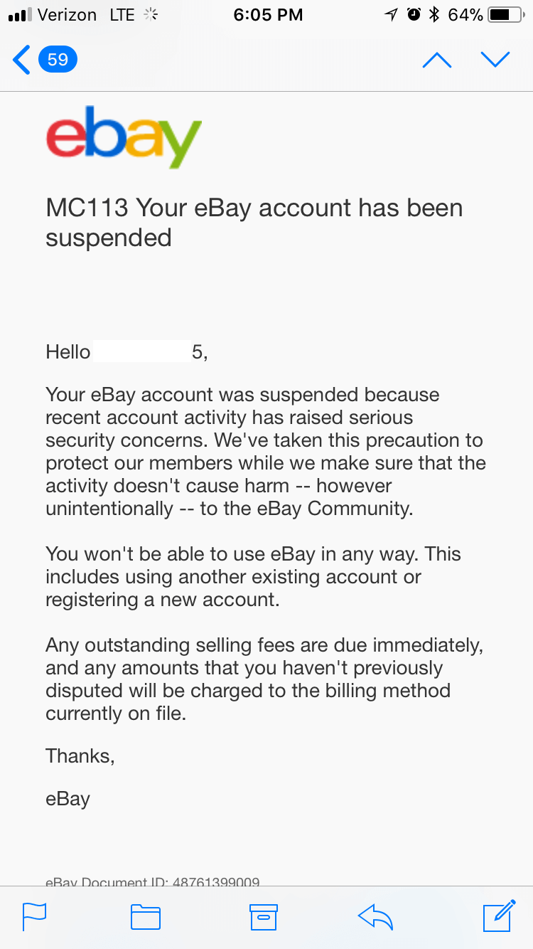 MC113 eBay note - eBay account suspended