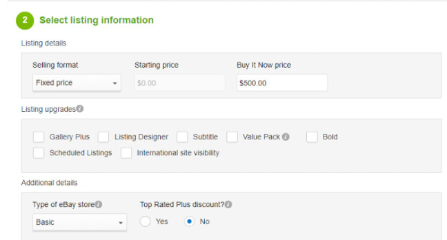 eBay fee calculator step two
