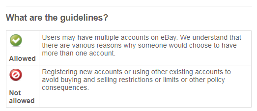 Use multiple accounts on eBay
