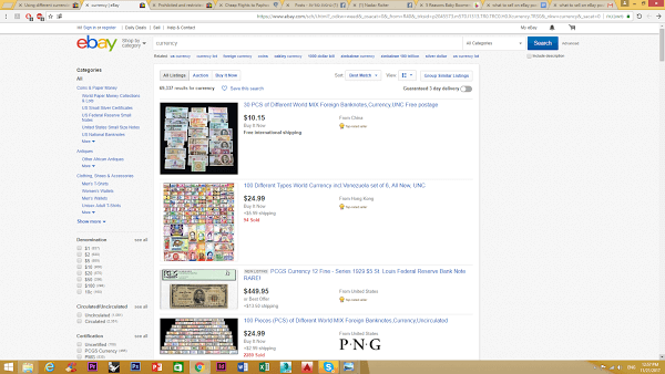 selling currency on ebay