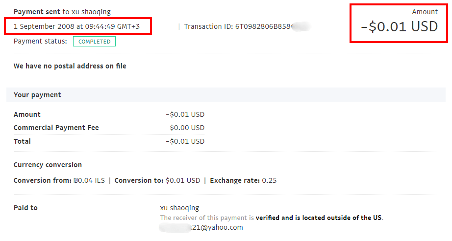 Test paypal transaction