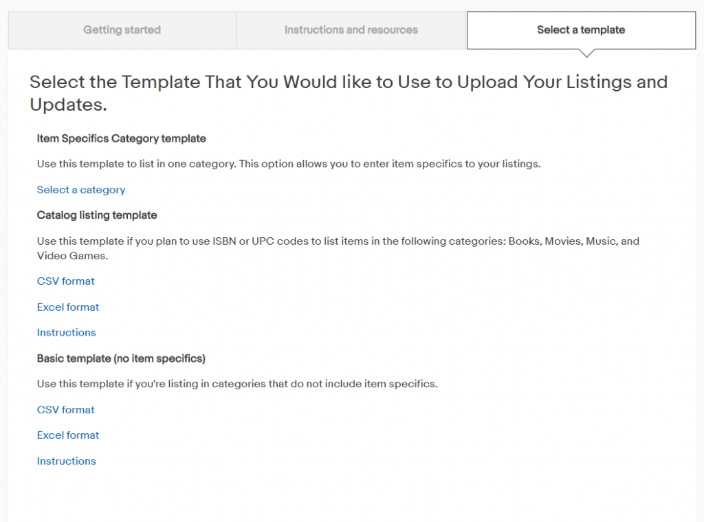 eBay templates for bulk listing