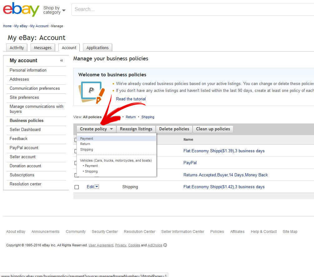 create ebay return policy