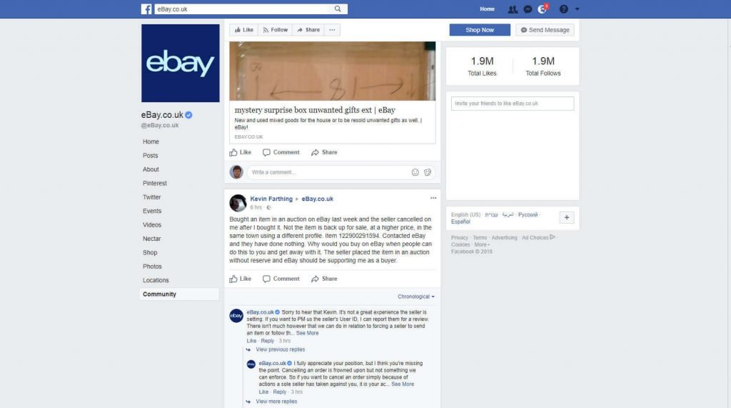 eBay uk customer service on Facebook example