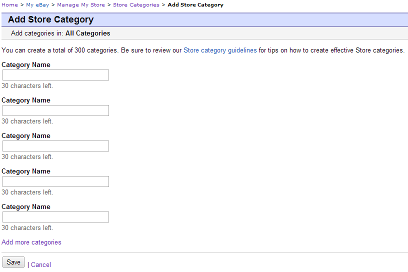 Creating ebay store categories