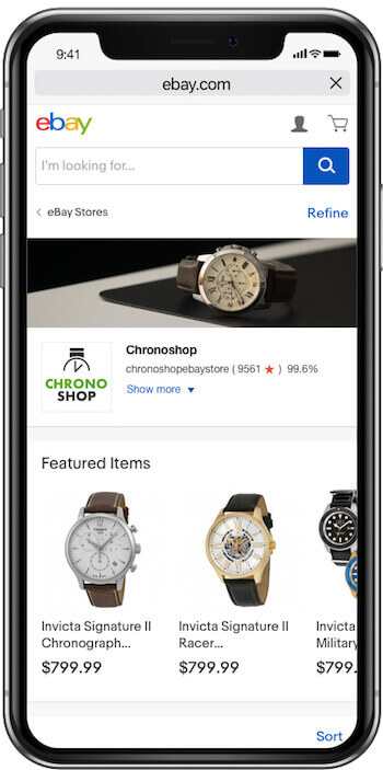 ebay store design mobile