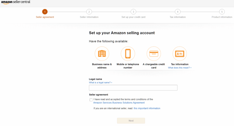 setup amazon selling account