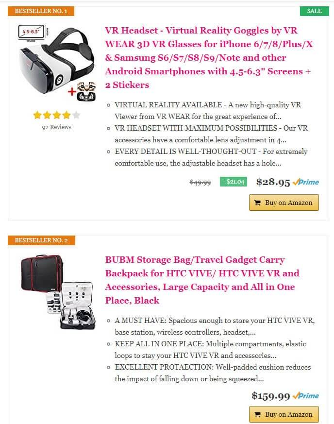 top selling VR products amazon