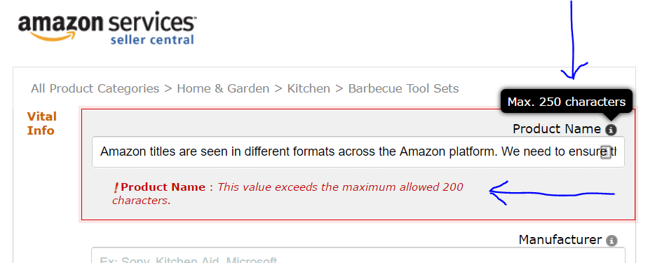 amazon title description error