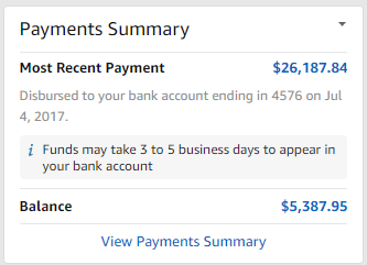 amazon seller central Payments Summary